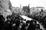 Israel, crowds gathered outside Church of the Nativity in Bethlehem