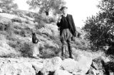 Israel, Clarence Sorensen and boy on hillside in Ramallah