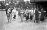 Japan, tourists visiting Nijo Castle in Kyoto
