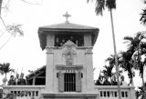 Vietnam, people standing in tower of newly built Catholic church in Vĩnh Yên