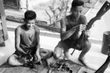 Malaysia, Gurkha soldiers cleaning weapons at military camp