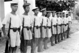 Thailand, row of Thai Navy sailors in Bangkok