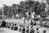 Vietnam, French and Vietnamese paratroopers at military training camp