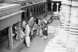 India, people inside of Durga Temple in Varanasi