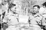 Malaysia, officers Ganesh Gurung and Lalbahadur Thapa at Gurkha military camp
