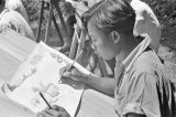 Indonesia, student drawing at Bali art school