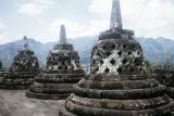 Indonesia, stupas on top of Borobudur Temple