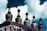 China, row of chortens on lamasery in Tibetan Plateau
