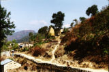 Pokhara (Nepal), person walking along a path in the mountains