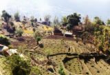 Pokhara (Nepal), view of terrace farming dotted with fertilizer piles