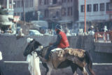 Kābul (Afghanistan), street scene with man on horse