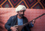 Bamian province (Afghanistan), man playing music for national day