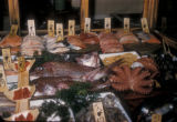 Japan, seafood store displaying fish and seafood