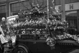 Shanghai (China), funeral procession with decorated automobile