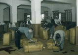 Japan, preparing bales of silk for shipping to France
