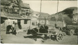 Shanxi (China), village with ox cart near Yungang Grottoes
