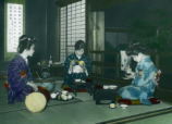 Japan, women eating dinner