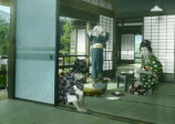 Japan, girls sweeping and cleaning rooms