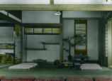 Japan, interrior of a Japanese house (drawing room)