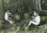 Japan, men making bamboo baskets