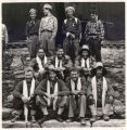 Nepal, New Zealand Himalayan Expedition members wearing ceremonial scarves