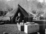 Jammu and Kashmir (India), Dr. E. G. Hutchinson in front of his tent laboratory