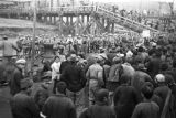 Pukou (China), crowds of refugees fleeing to Nanjing during the Civil War of 1949