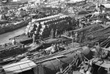 Shanghai (China), Wusong River packed with boats of refugees, Civil War of 1949