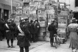 Shanghai (China), empty crates from relief funds outside of a bank, Civil War of 1949