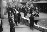 Shanghai (China), soldiers and a barricade of crates, Civil War of 1949