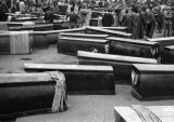 Shanghai (China), preparing dozens of coffins for removal from the city during the Civil War of...