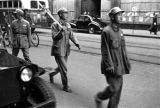 Shanghai (China), members of the People's Liberation Army moving through the streets during the...