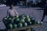 Esfahan province (Iran), vendor with melon stand