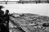 Lanzhou (China), boys standing near sheepskin rafts on the shore of the Yellow River