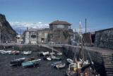 Mevagissey, panoramic view of waterfront at low tide