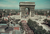 Paris, panoramic view of Arc de Triomphe during event
