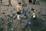 Cracow, children feeding pigeons in Main Market Square