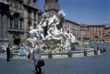 "Rome, Piazza Navona with Bernini's ""Fountain of the Four Rivers"""