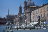 Rome,  Piazza Navona fountains and Church of St. Agnes