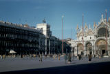 Venice, St. Mark's Square with three ship's masts in front of San Marco Basilica