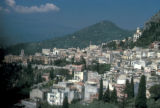 Taormina, panoramic view of city at foot of Mt. Etna