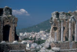 Taormina, Greek Theater with view of city below