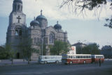 Varna, buses in front of Varna Cathedral