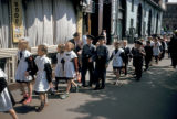 Moscow, school children walking down street