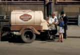 Moscow, trailer dispensing Kvass (popular soft drink) to children