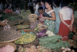 Jakarta, shoppers at vegetable market