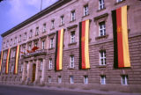 Berlin, German Democratic Republic flags on building