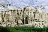 Bamiyan, view of cliff and Bamiyan Buddha