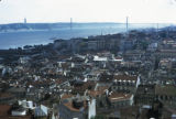 Lisbon, panoramic view of city and April 25 Bridge