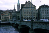Zurich, Old Town with bridge across Limmat River